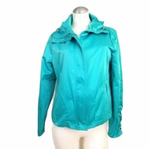 Chico's Size 1 M Jacket Ruched Sleeves